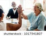 senior women giving each other... | Shutterstock . vector #1017541807