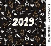 2019 handwritten year number.... | Shutterstock .eps vector #1017542041