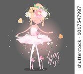 beautiful ballet girl ... | Shutterstock .eps vector #1017547987