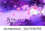 beautiful woman with flowers ... | Shutterstock .eps vector #1017550705