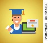 study online flat diploma... | Shutterstock .eps vector #1017555811