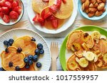 top view of homemade pancakes... | Shutterstock . vector #1017559957