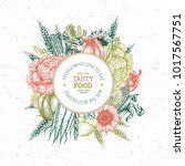 healthy organic food design... | Shutterstock .eps vector #1017567751