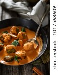 Small photo of Vegetarian Indian Meatballs with Chickpeas Metaball in Curry Sauce
