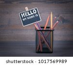 hello my name is. a small... | Shutterstock . vector #1017569989