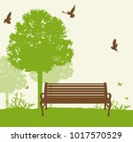 bench under a green tree in the ... | Shutterstock .eps vector #1017570529