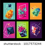 trendy poster collection with... | Shutterstock .eps vector #1017573244