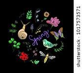 set spring vector illustration. ... | Shutterstock .eps vector #1017573571