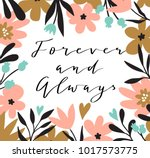 romantic flower bouquet with... | Shutterstock .eps vector #1017573775