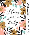 romantic flower bouquet with... | Shutterstock .eps vector #1017574165