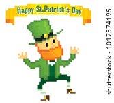 dancing leprechaun. st.patrick '... | Shutterstock .eps vector #1017574195