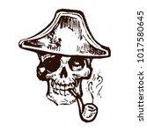 skull in pirates tricorn hat...   Shutterstock .eps vector #1017580645