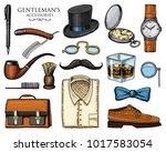 gentleman accessories. hipster... | Shutterstock .eps vector #1017583054