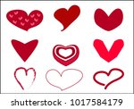 set of valentine heart icon... | Shutterstock .eps vector #1017584179