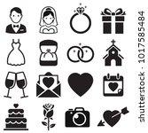 wedding icons. vector... | Shutterstock .eps vector #1017585484