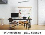 corporate loft brick interior... | Shutterstock . vector #1017585595