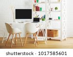 bright loft brick interior with ... | Shutterstock . vector #1017585601
