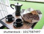 italian metallic coffee maker... | Shutterstock . vector #1017587497