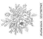 vintage vector floral... | Shutterstock .eps vector #1017587965