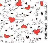 Hand drawn doodle love seamless pattern for wedding, Valentine's Day wallpaper, background design. Vector illustration with heart, love, arrow, lettering text. Hand drawn sketch style.