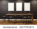 Stock photo contemporary black brick pub or bar interior with blank billboards on wall mock up d rendering 1017591871