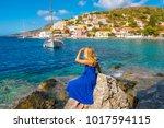 beautiful young woman tourist... | Shutterstock . vector #1017594115