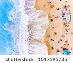 tourists at the beach bird's... | Shutterstock . vector #1017595735