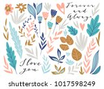 Stock vector flower graphic design for card and invitation vector set of floral elements with hand drawn 1017598249