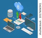 cloud computing technology...   Shutterstock .eps vector #1017606541