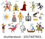 big set of cartoon medieval... | Shutterstock .eps vector #1017607831