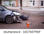 car accident. auto crash  wreck ... | Shutterstock . vector #1017607969