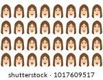 emotions set. businesswoman... | Shutterstock . vector #1017609517