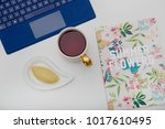 novruz at work place. table... | Shutterstock . vector #1017610495