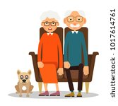 on the sofa sit elderly woman ... | Shutterstock . vector #1017614761