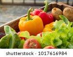 fresh vegetables in wood box...   Shutterstock . vector #1017616984