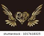 tribal. tribal sticker. heart... | Shutterstock .eps vector #1017618325