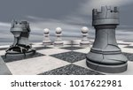 a rook on a chessboard crashes  ... | Shutterstock . vector #1017622981