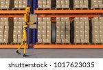 a robot warehouse worker  3d... | Shutterstock . vector #1017623035