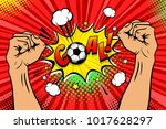 football fan male hands raised... | Shutterstock .eps vector #1017628297