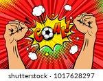 football fan male hands raised... | Shutterstock .eps vector #1017628297