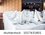 served table. hall for banquets ... | Shutterstock . vector #1017631801