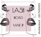 lash brow makeup square banner   Shutterstock .eps vector #1017633331
