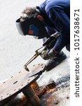 welder at work | Shutterstock . vector #1017638671