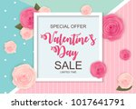 valentines day sale  discount... | Shutterstock . vector #1017641791