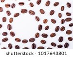 brown roasted coffee beans ... | Shutterstock . vector #1017643801