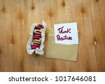 a note with think positive text ... | Shutterstock . vector #1017646081