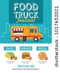 food truck festival flyer... | Shutterstock .eps vector #1017652021