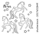 cute horses and stars set... | Shutterstock .eps vector #1017652849
