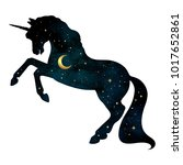 silhouette of unicorn with...   Shutterstock .eps vector #1017652861