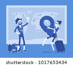 travel planning at map. man and ... | Shutterstock .eps vector #1017653434
